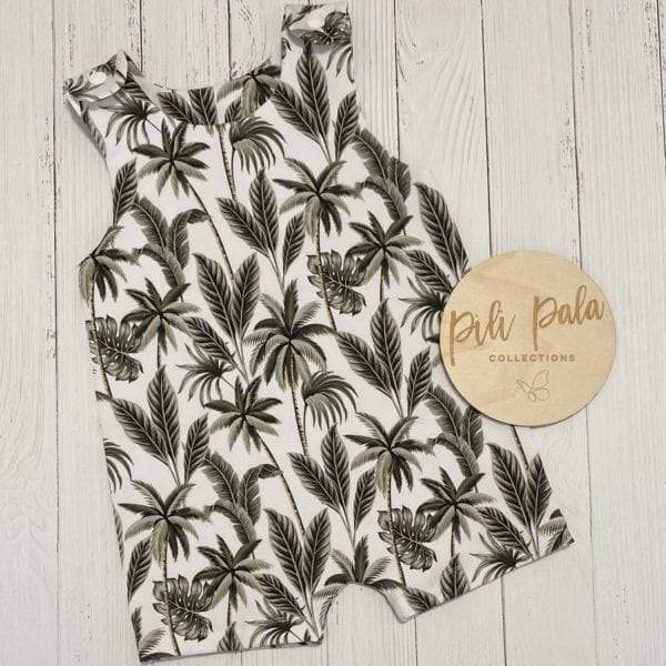 Pili Pala Collections - Tropical Palm Short Overalls