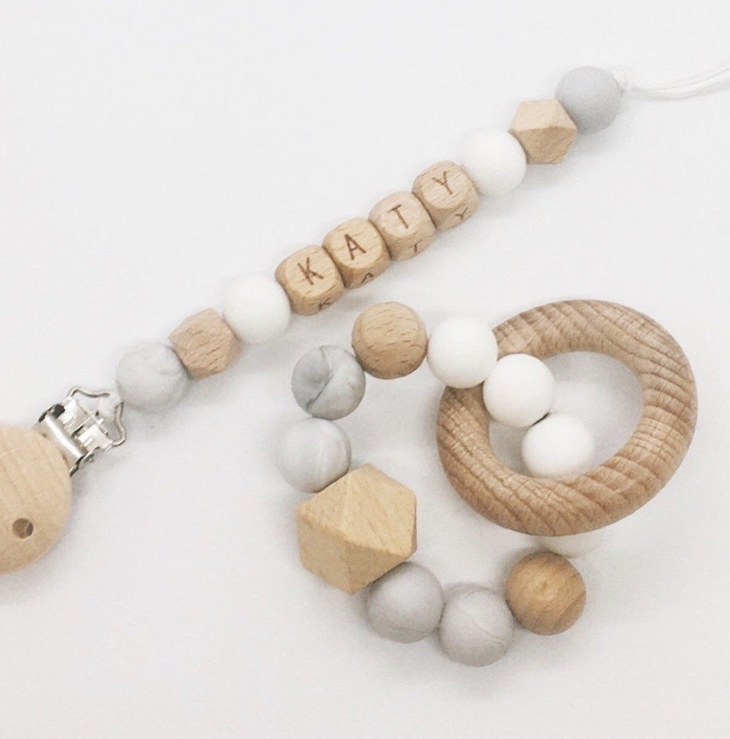 Babydoo - Marble Personalised Silicone Dummy + Teether Set