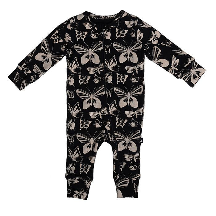 Anarkid - BLACK BUTTERFLY AOP ZIP ROMPER