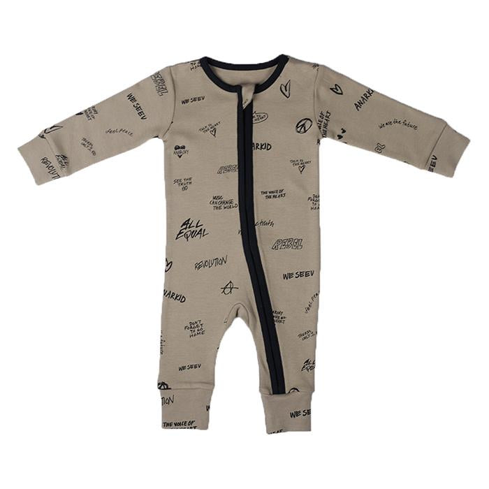 Anarkid - PEACE GREEN AOP ZIP ROMPER