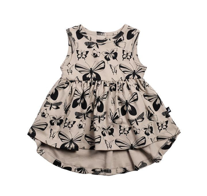 Anarkid - BEIGE BUTTERFLY AOP SLEEVELESS DRESS