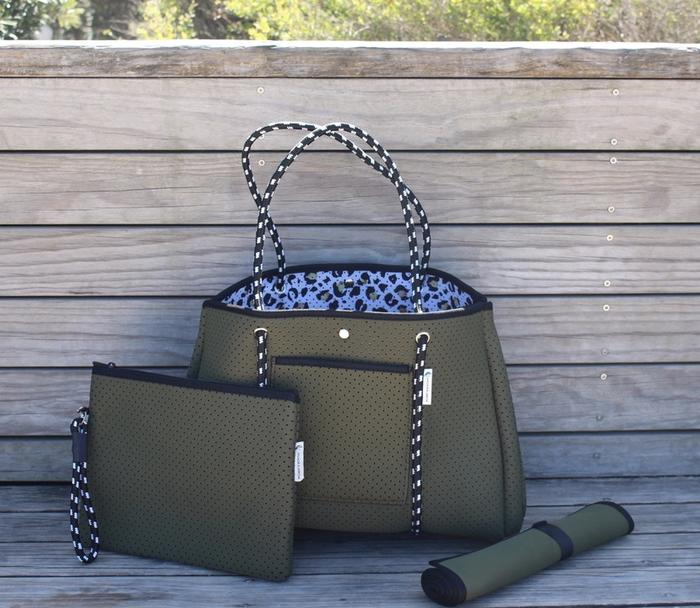 Anchor & Arrow - Ultimate Mums Bag - Khaki / Leopard Print
