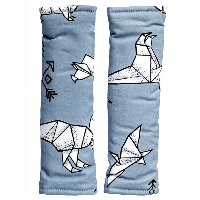Bambella Designs - Harness Covers - Blue Geo Dinosaurs