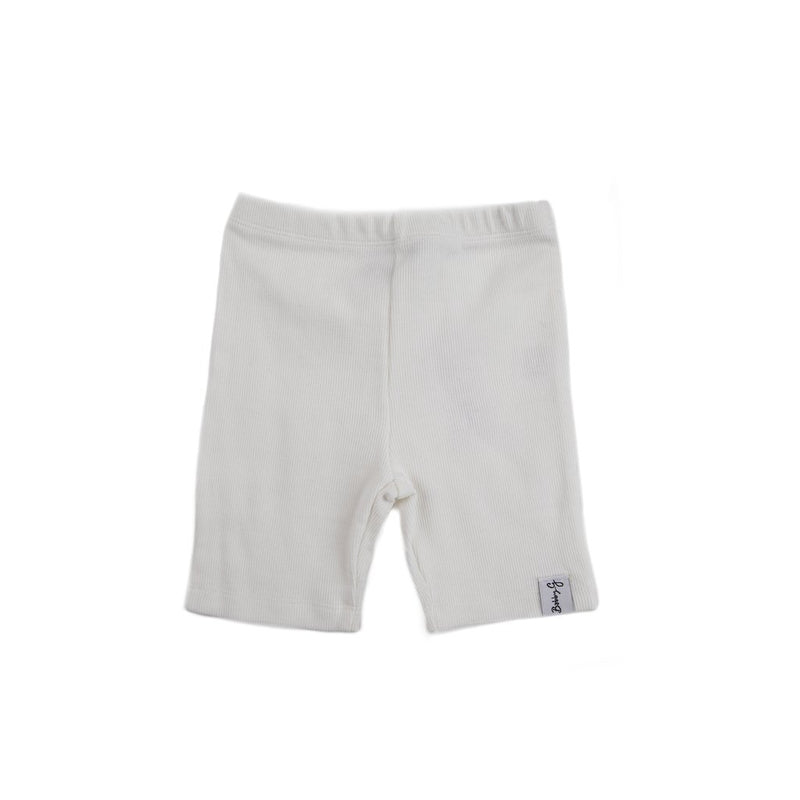 Bobby G Baby Wear - Cycle Shorts | White Ribbed