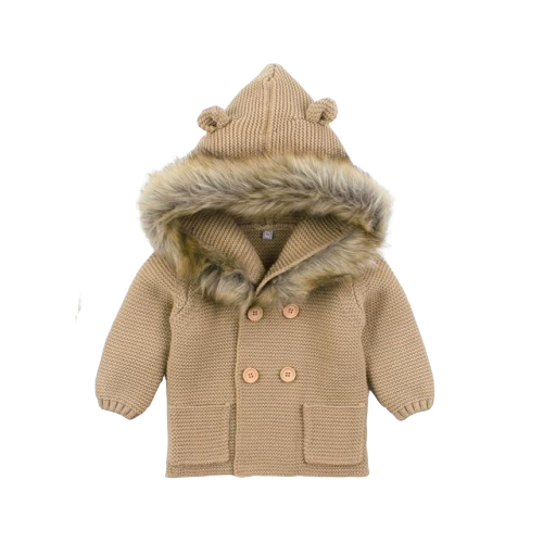 Fluffy Hood Cardigan | Bear