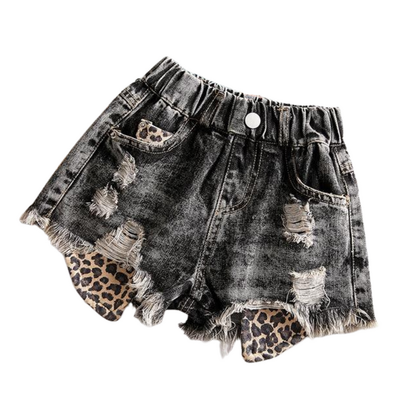 Leopard Distressed Denim Shorts | Black
