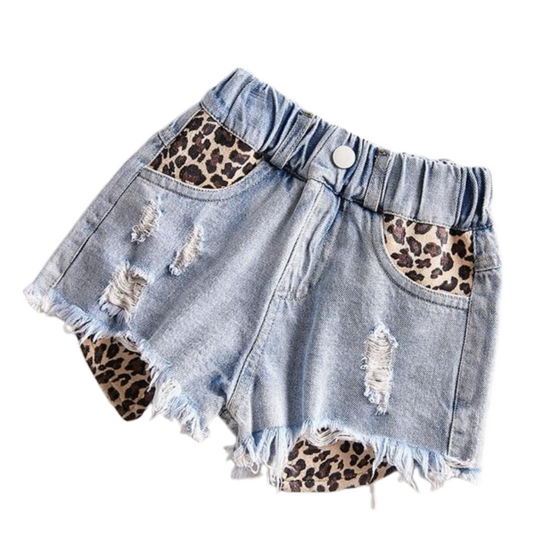 Leopard Distressed Denim Shorts | Blue