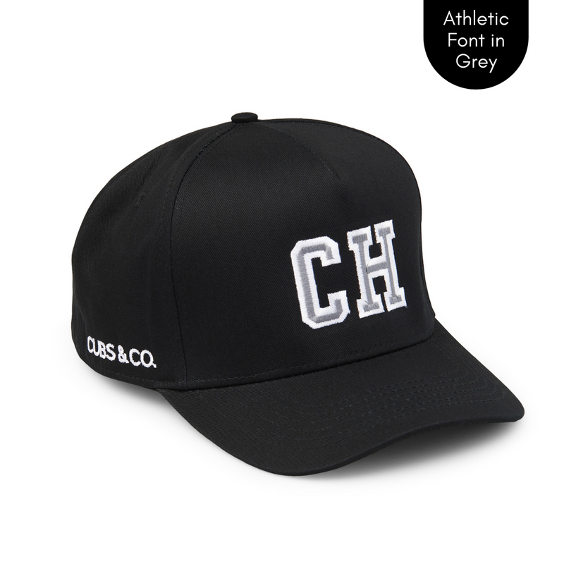 Cubs & Co - PERSONALISED BLACK W/ INITIALS | ATHLETIC GREY PRINT