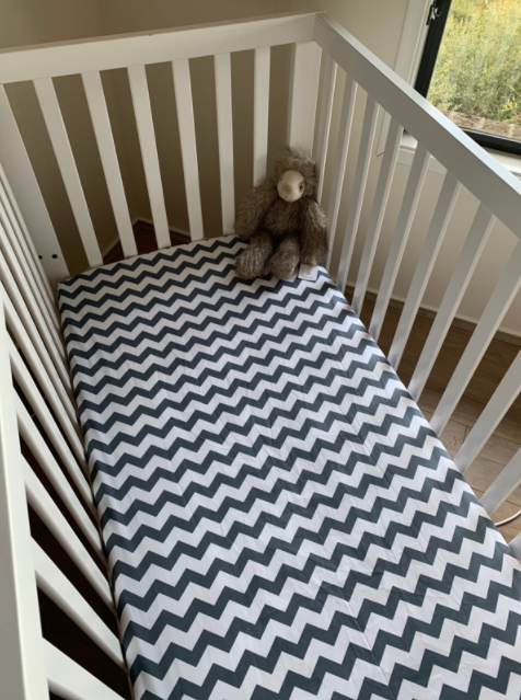 Olive June and Co - Fitted Cot Sheet | Chevron Grey