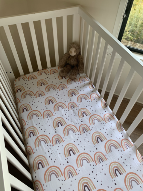 Olive June and Co - Fitted Cot Sheet | Watercolour Rust Rainbow