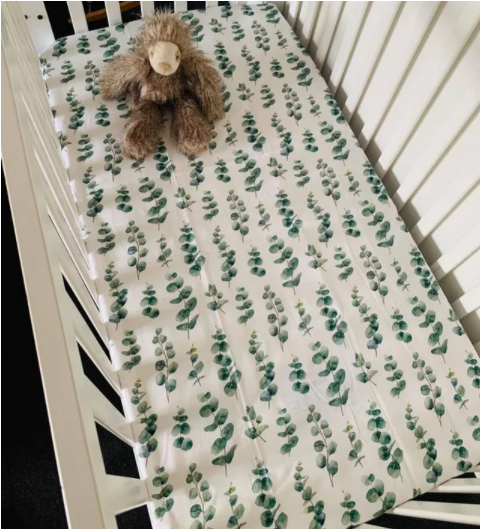 Olive June and Co - Fitted Cot Sheet | Eucalyptus Leaf