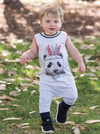 Romperoo - Feathered Panda Cotton Romper