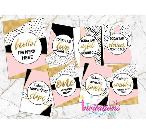 Pink Abstract Milestone Cards