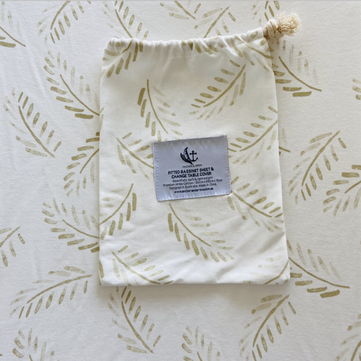 "Anchor & Arrow - ""Gold Fern"" Bassinet sheet"