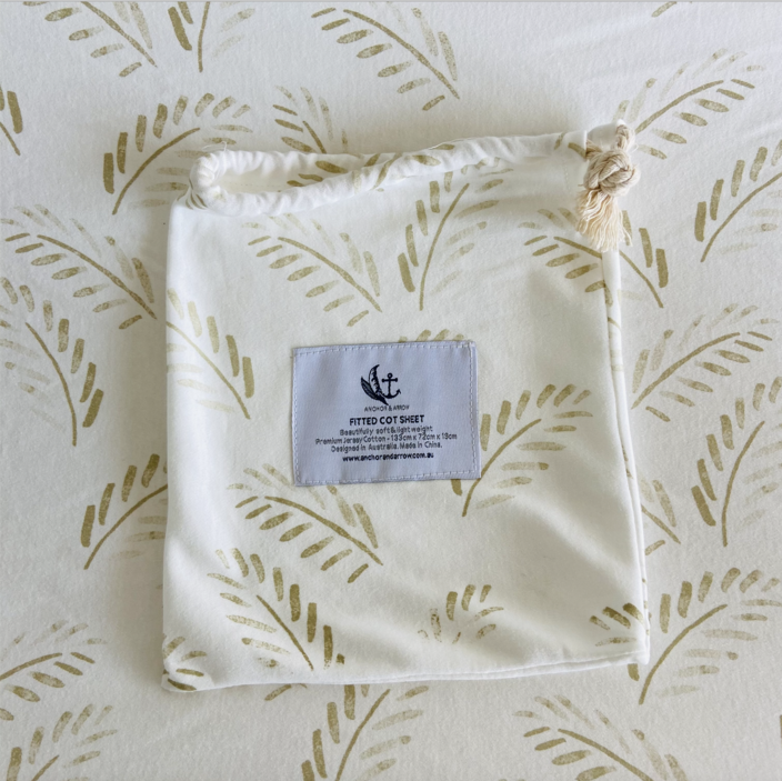 "Anchor & Arrow - ""Gold Fern"" Cot Sheet"