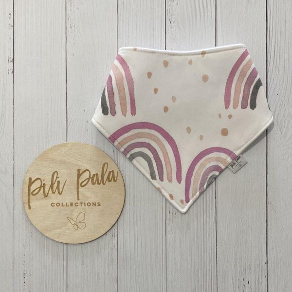 Pili Pala Collections - Boho Rainbows Pink Dribble Bib