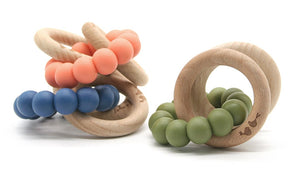 Lulu and Lala - LENNI silicone + beechwood teether | Various Color Combos