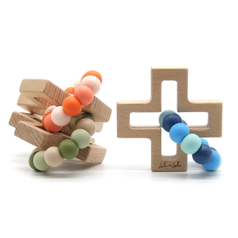 Lulu and Lala - CROSS silicone + beechwood teether | Various Color Combos