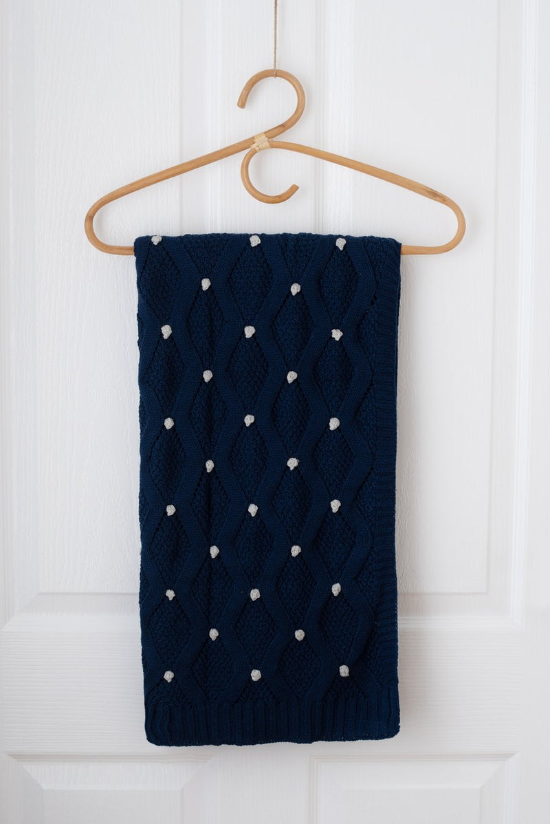 Kute Cuddles - Haven Knit Baby Blanket - Navy