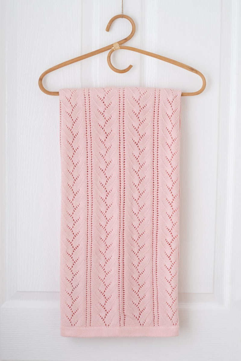 Kute Cuddles - Bloom Knit Baby Blanket - Blush