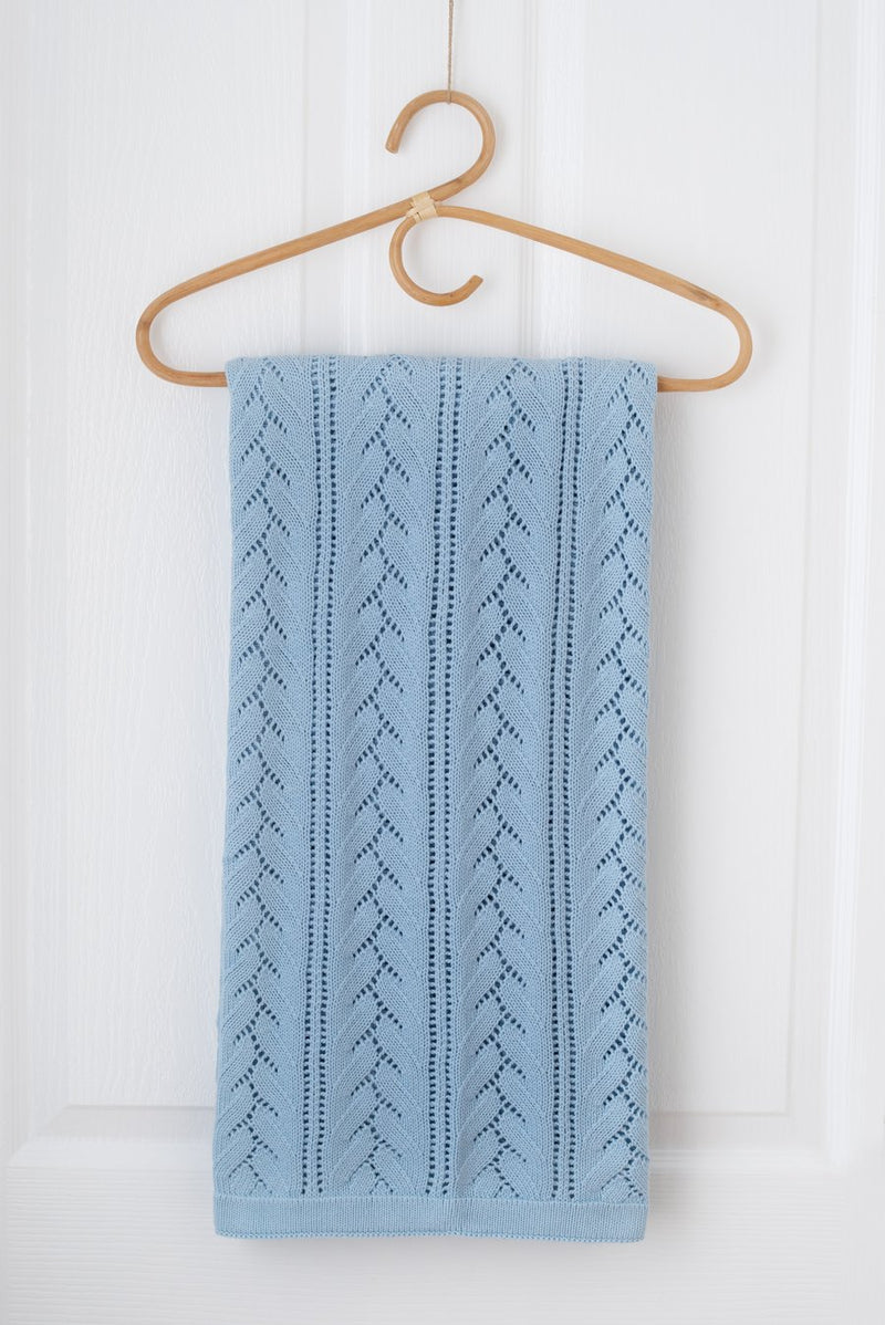 Kute Cuddles - Bloom Knit Baby Blanket -  Sky