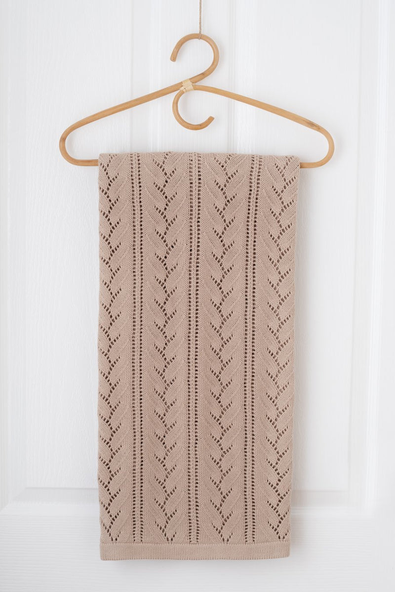 Kute Cuddles - Bloom Knit Baby Blanket -  Sand
