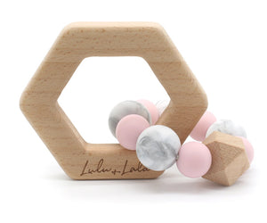 Lulu and Lala - LENNOX silicone + beechwood teether | Various Color Combos