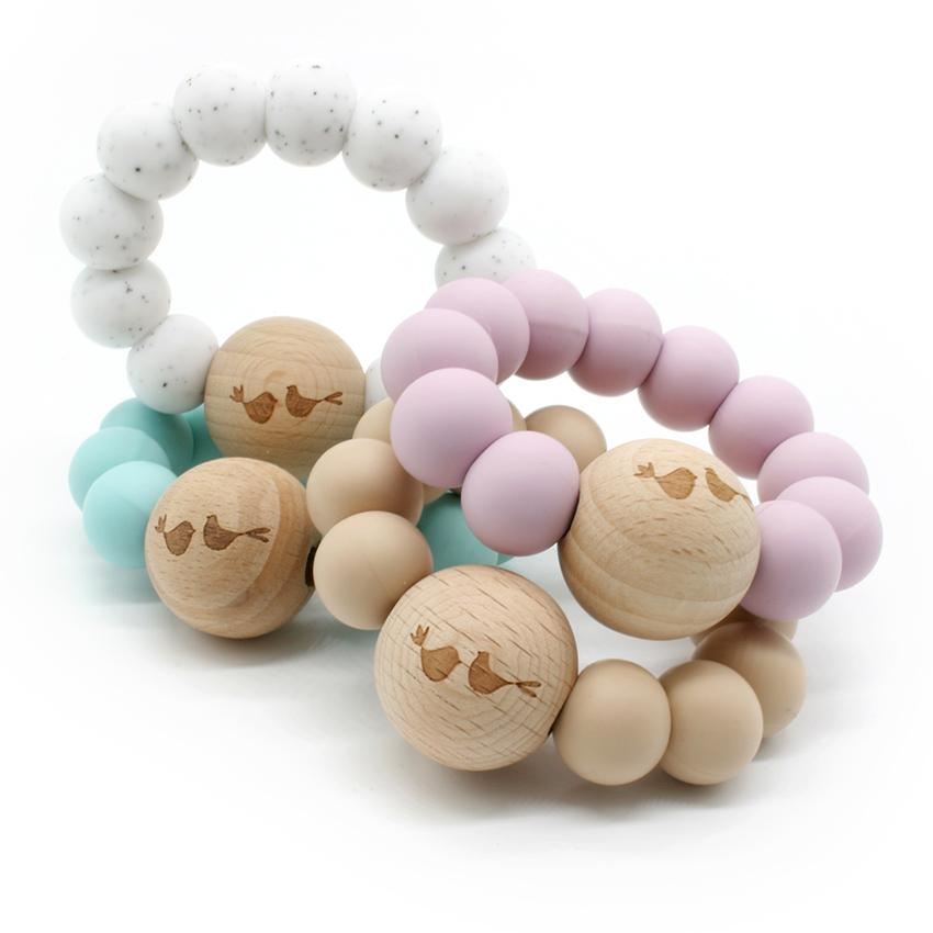 Lulu and Lala - LUCY silicone + beechwood teether | Various Color Combos