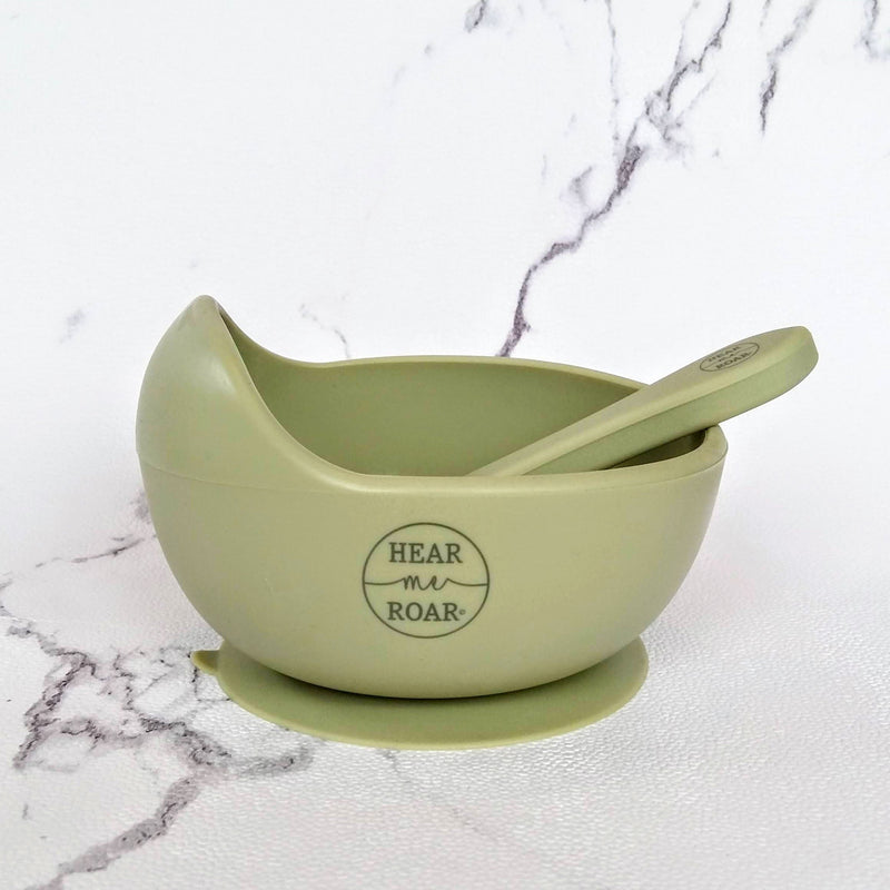 Hear Me Roar Kids - Sage | Silicone Bowl + Spoon Set