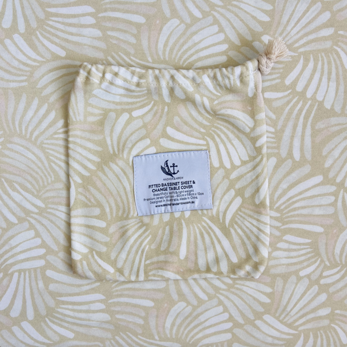 "Anchor & Arrow - ""Sandy Shell"" Bassinet sheet"