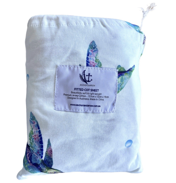 "Anchor & Arrow - ""Sea Turtles"" Bassinet sheet"