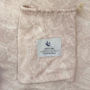 "Anchor & Arrow - ""Pink Palm"" Cot Sheet"