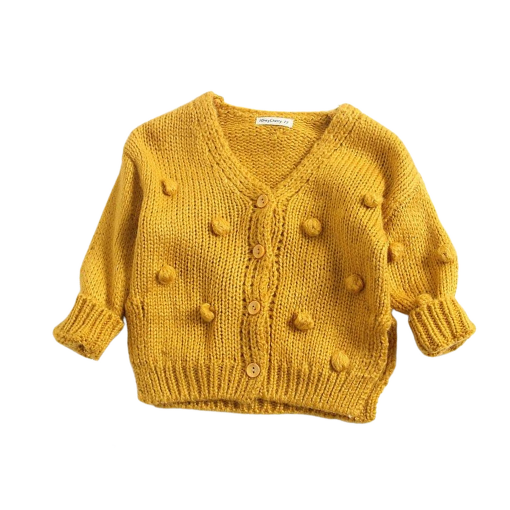 Dotty Knit Cardigan | Mustard