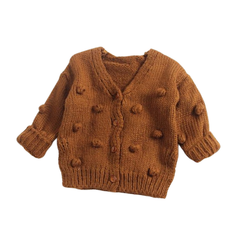 Dotty Knit Cardigan | Brown