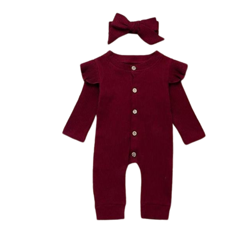 Ribbed Flutter Sleeve Romper | Wine