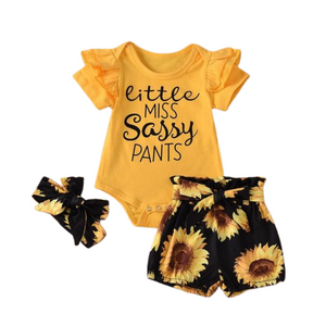 Sassy Pants Set | Yellow Sunflower