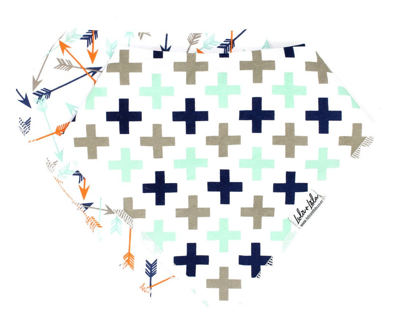 Lulu & Lala - BANDANA BIBS ~ crosses + arrows