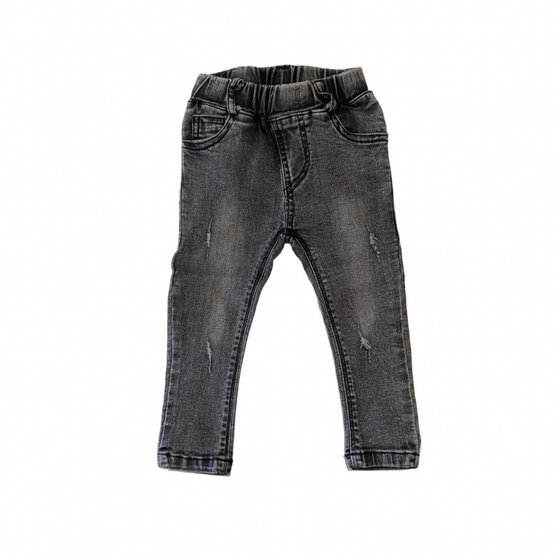 MLW By Design - Distressed Black Wash Jeans