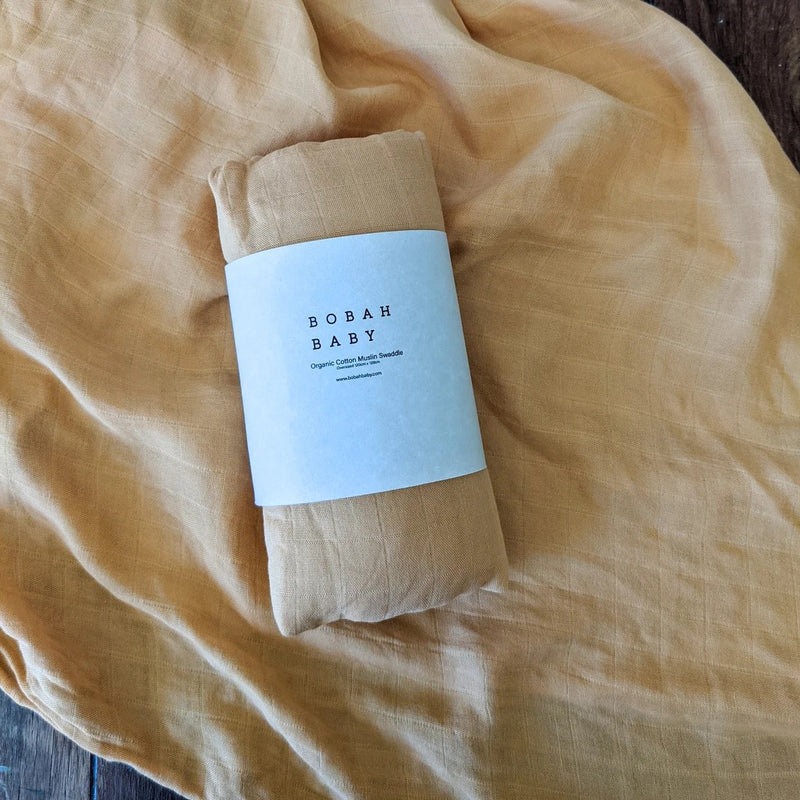 Bobah Baby - Organic Cotton Muslin Swaddle | Golden Sun