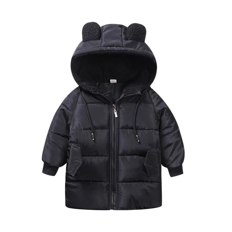 Bear Knee Length Puffer Jacket | Black