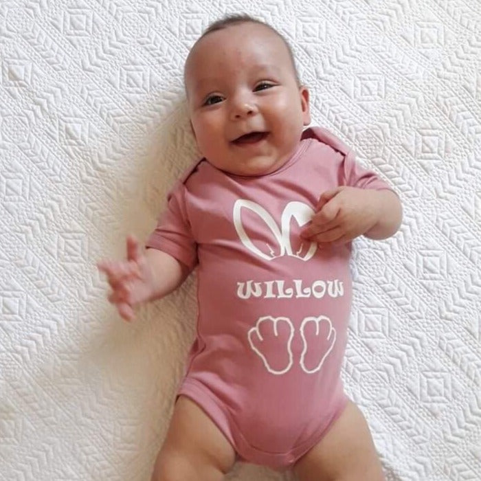 MLW By Design - Personalised Bunny Bodysuit | Pink or Blue