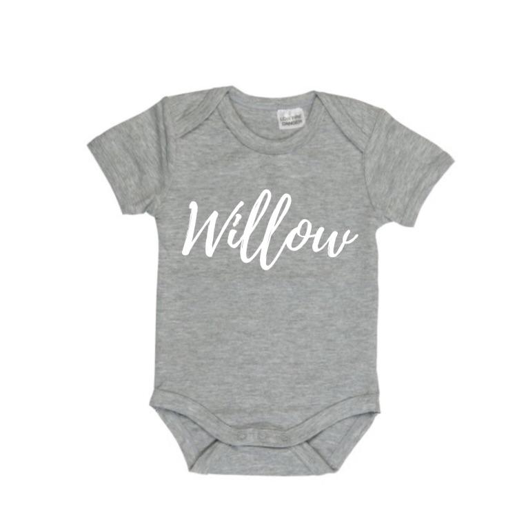 MLW By Design- Personalised Name Grey Bodysuit