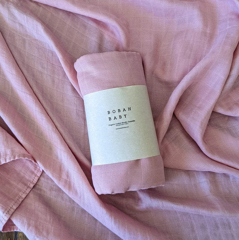 Bobah Baby - Organic Cotton Muslin Swaddle | Rose