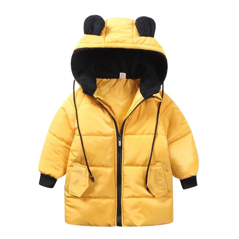 Bear Knee Length Puffer Jacket | Yellow