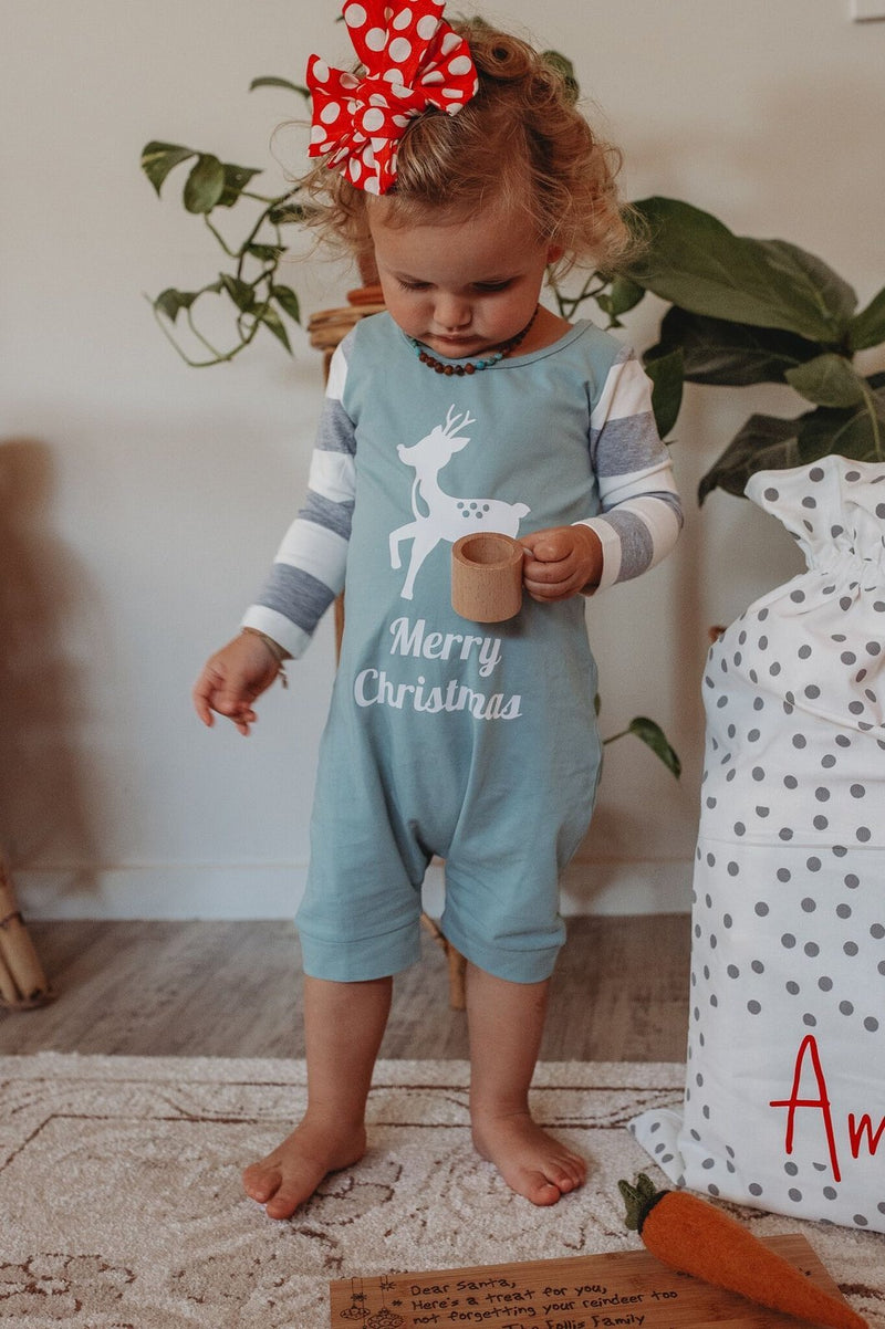 Little Wolfie - Christmas Pyjamas Striped Sleeve Romper