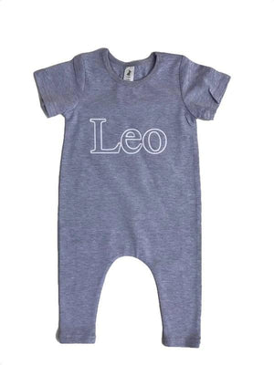 Little Wolfie - Outline Name Romper | Grey