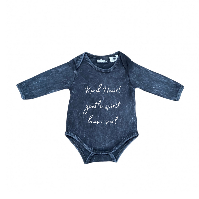 MLW By Design - Kind Heart Long Sleeve Stonewash Bodysuit