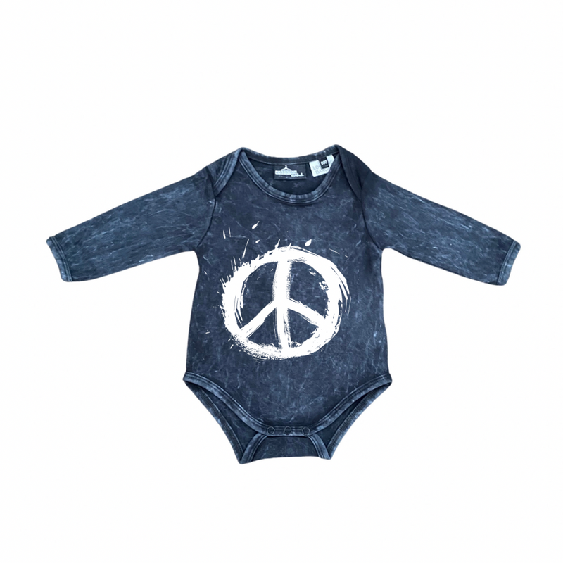 MLW By Design - Peace Sign Long Sleeve Stonewash Bodysuit