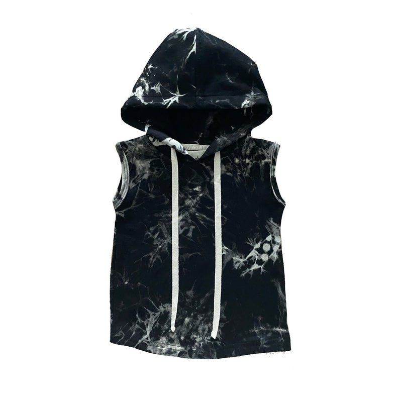MLW By Design - Black Tie Dye Sleeveless Hoodie *LIMITED EDITION*
