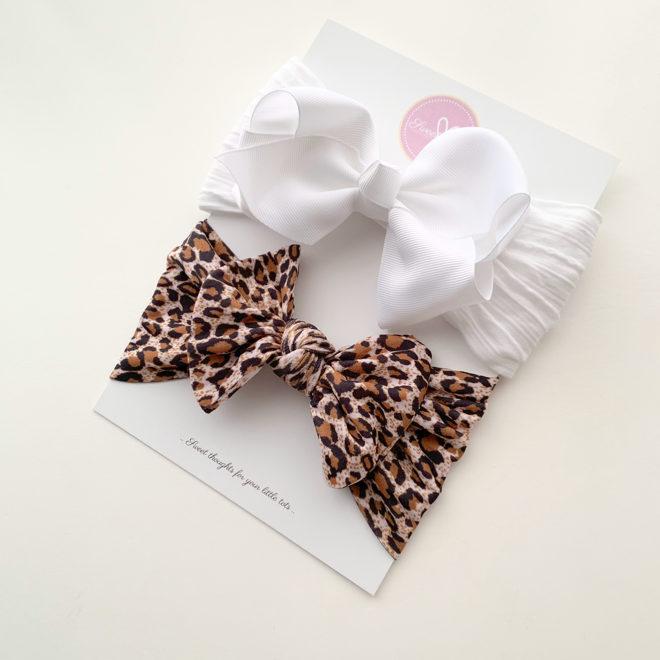 Sweet Tots Shop - Maya and Leopard Bow Set - Limited